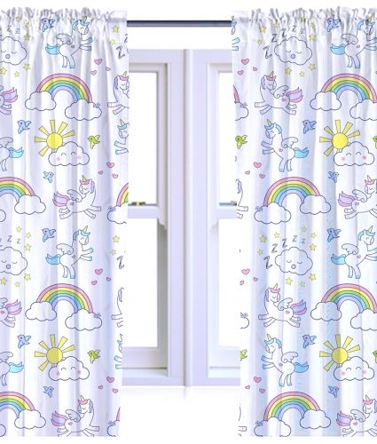 Children S Unicorn Design Ready Made Bedroom Curtains