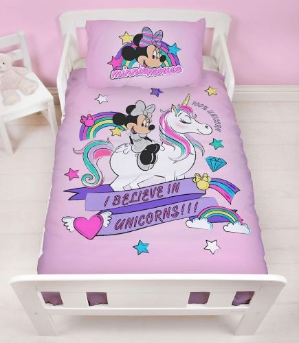 "Official Disney Minnie Mouse Unicorn ""Reversible"" Junior, Toddler or Cot Duvet Cover Bedding Set"