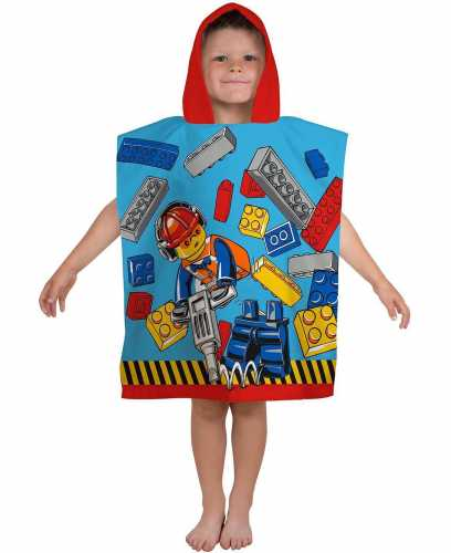 "Official Lego City ""Construction"" Character Hooded Towel Poncho"