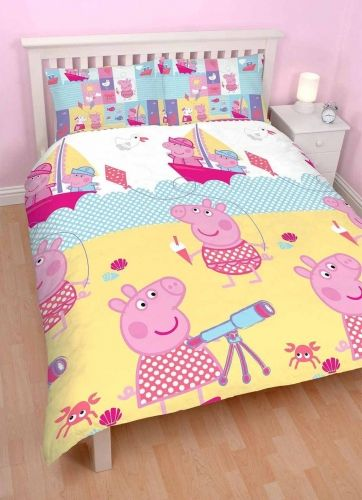 Official Peppa Pig Nautical Reversible Double Duvet Cover Bedding Set