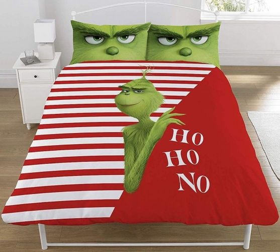 "Official The Grinch Christmas Ho Ho No ""Reversible"" Double Duvet Cover Bedding Set"